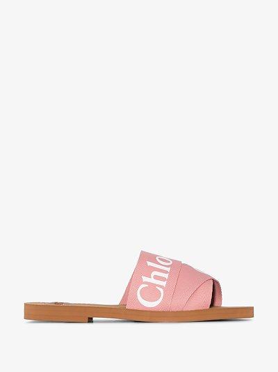 pink woody logo strap sandals