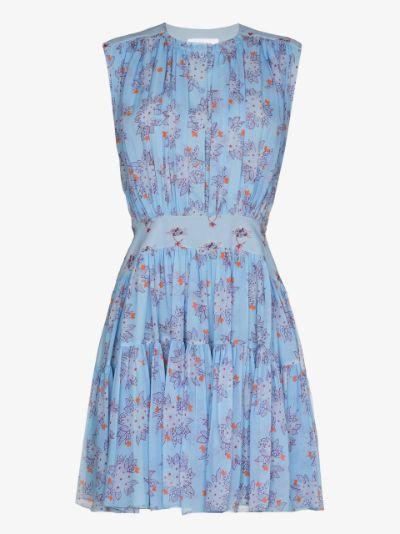 pleated floral silk dress