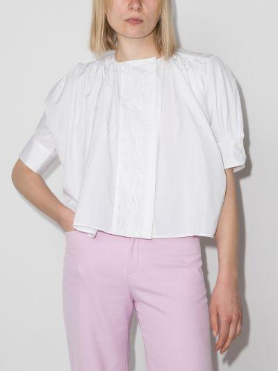 pouf sleeve cotton blouse