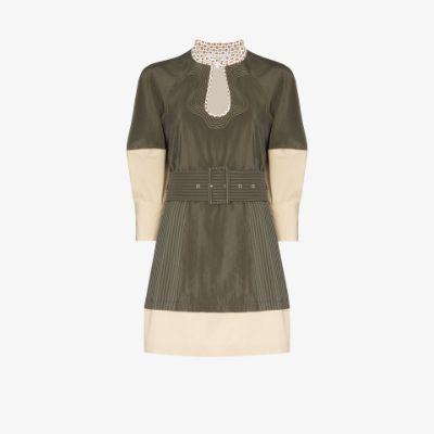 puff-sleeve belted mini-dress