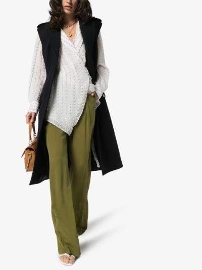 sheer high waist silk trousers