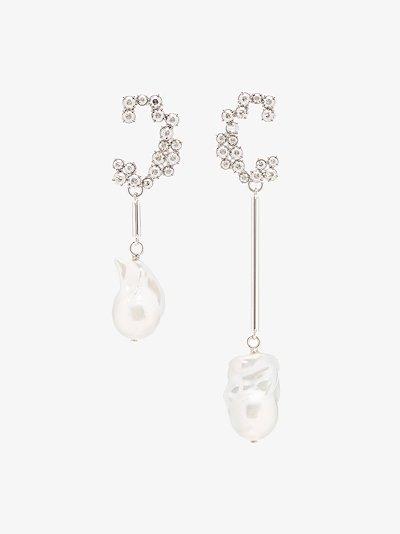 silver tone Darcey crystal pearl drop earrings