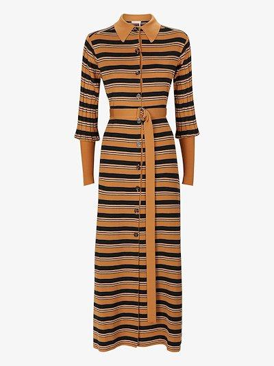 striped knit midi shirt dress