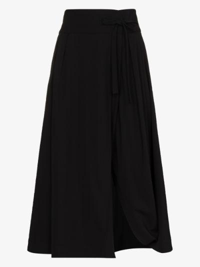 tie waist virgin wool midi skirt
