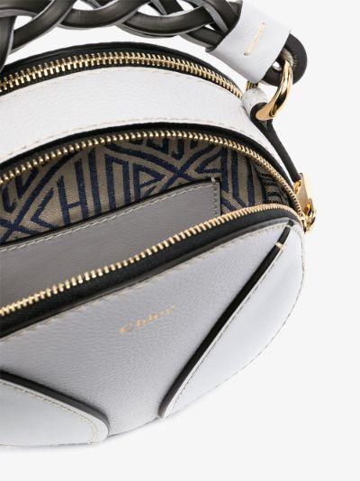 White Daria round leather mini bag