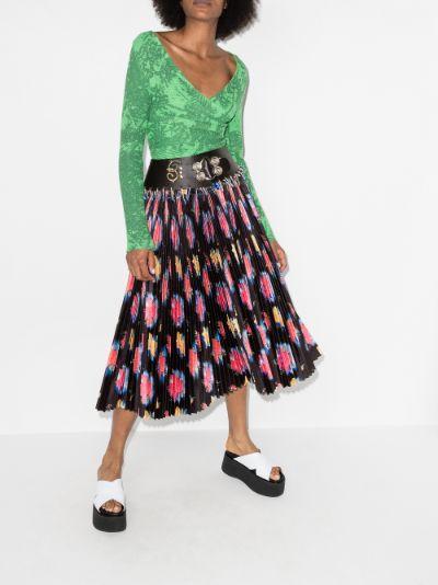 belted floral print skirt