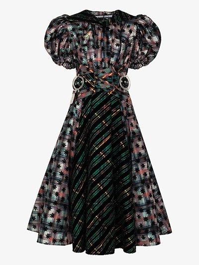 Emper patchwork tartan midi dress