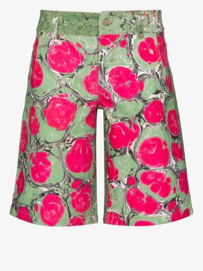 marble print cotton shorts