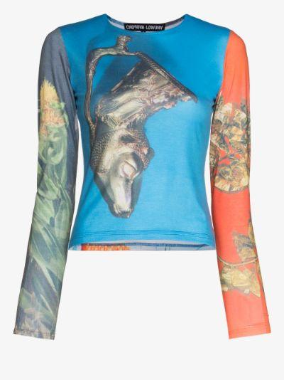 mixed print long sleeve top