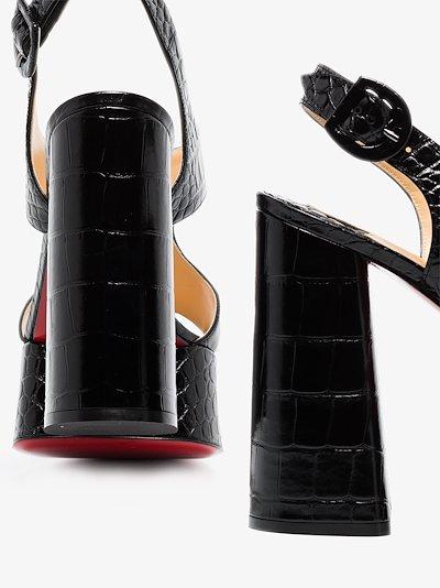 Black Foolish 130 mock croc leather platform sandals