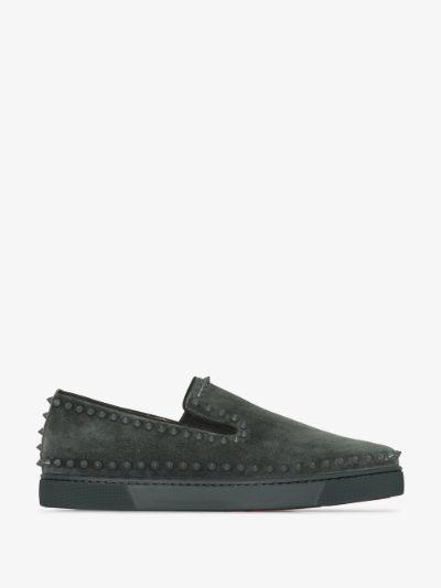 grey Louis Spikes slip-on suede sneakers