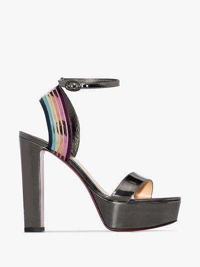 multicoloured Arkendisc 130 platform patent leather sandals