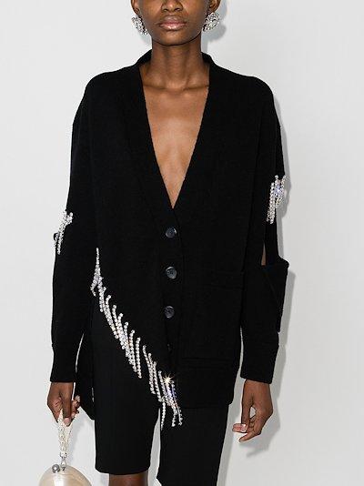 Asymmetric crystal fringe cardigan