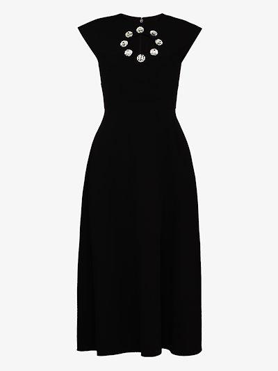 crystal cutout midi dress