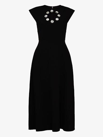 crystal-embellished cut-out dress