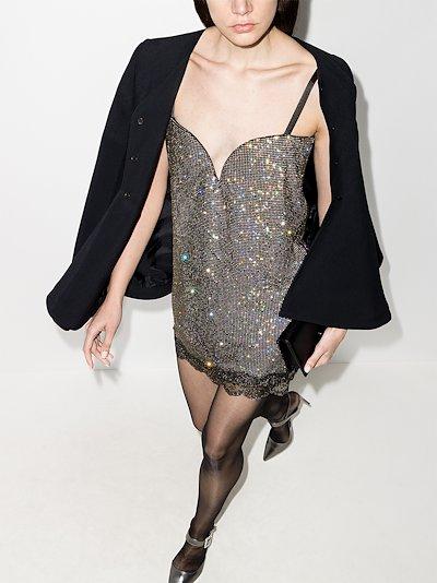 crystal mesh mini dress