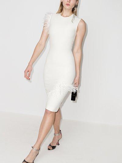 feather midi dress