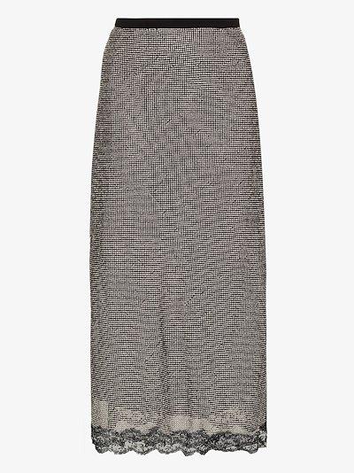 High waist crystal mesh skirt