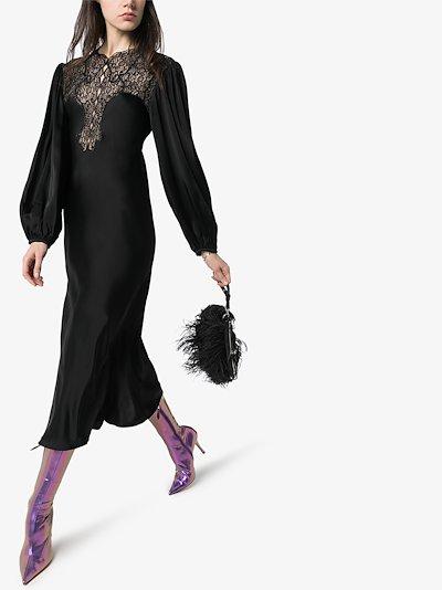lace yoke midi dress