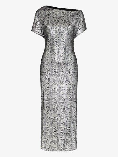 sequin snake print dress