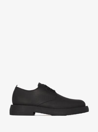 black Mileno London matte leather derby shoes