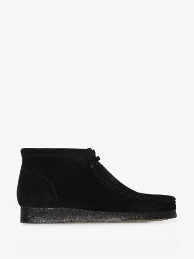 black Wallabee suede boots