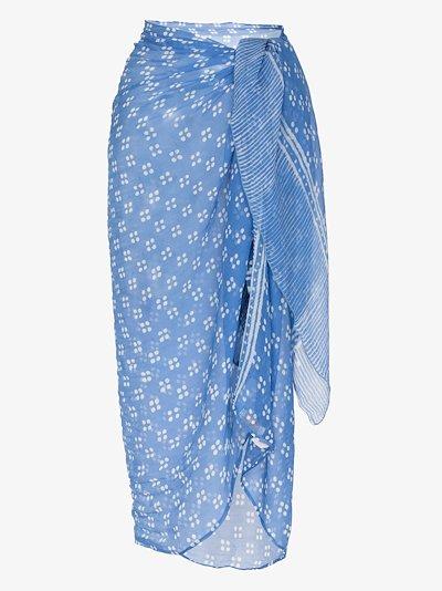 blue printed crinkle silk sarong
