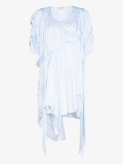 asymmetric draped silk dress