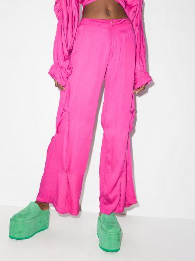 draped silk trousers
