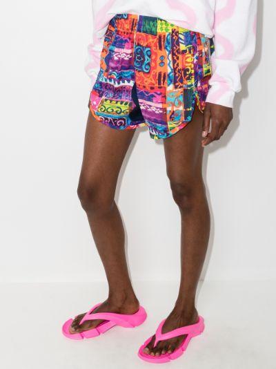 patchwork print cotton shorts
