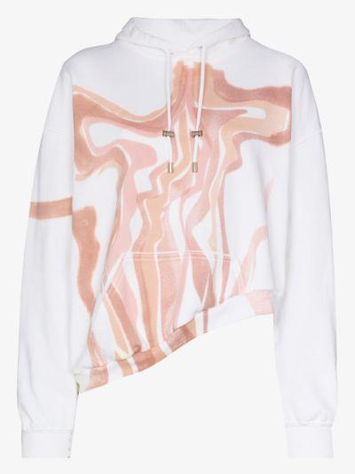 Wave asymmetric printed hoodie