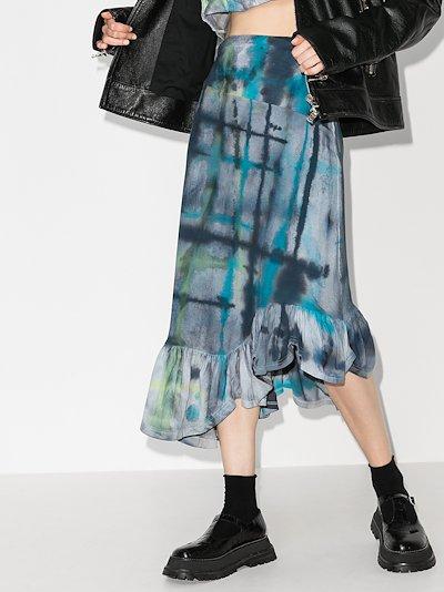 X Browns 50 Michi asymmetric tie-dye skirt