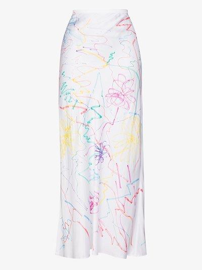 Yod scribble print midi skirt