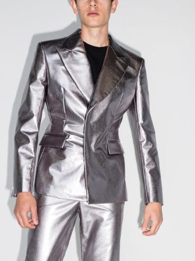 metallic double-breasted blazer