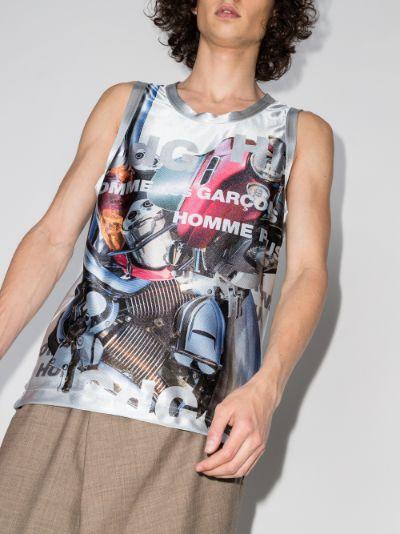 metallic graphic vest top