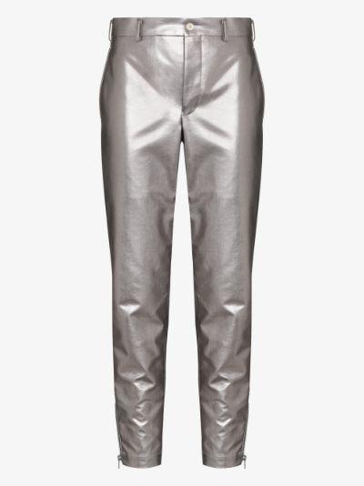 metallic straight leg trousers