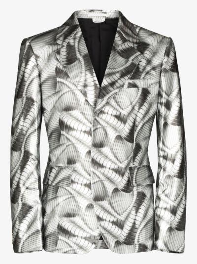 metallic wave print blazer