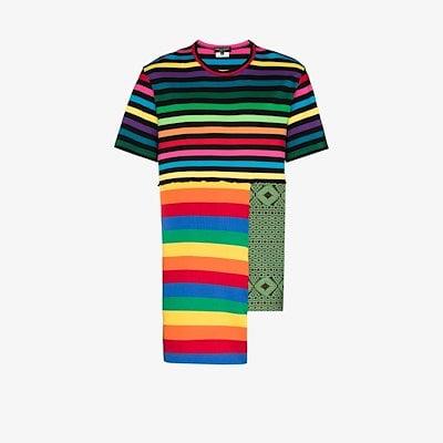 rainbow stripe patchwork T-shirt