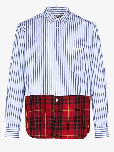 Striped tartan panel shirt