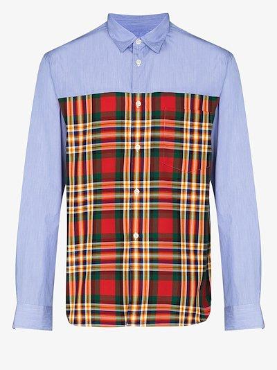 Tartan panelled shirt
