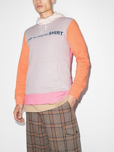 colour block logo cotton hoodie