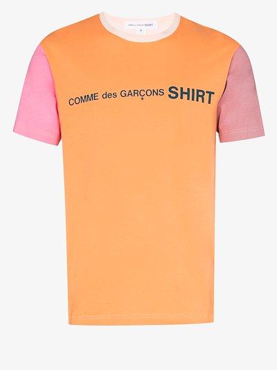 colour block logo cotton T-shirt