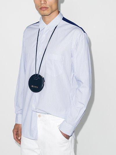 panelled pinstripe shirt