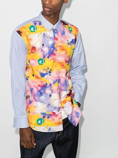 pinstripe panelled shirt