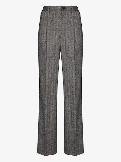 high waist striped trousers
