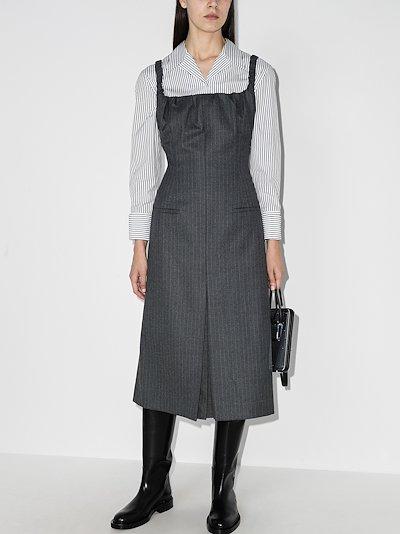 pinstriped midi dress