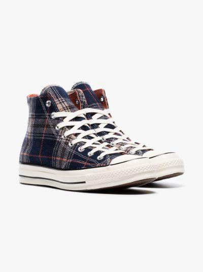 Converse navy Chuck 70 tartan print hi top sneakers | Browns