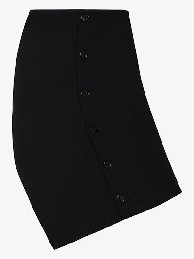 button detail asymmetric skirt