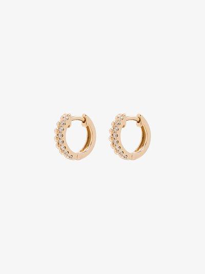 14K gold Poppy Rae pebble diamond huggie earrings