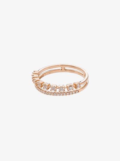 14K rose gold Ava Bea double row diamond ring